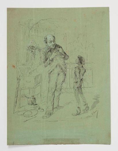 Ecole française de la seconde moitié du XIXe siècle. Gavroche. Plume et encre. Rehauts...