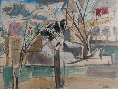 BEDARD, paysage,encre, aquarelle 1956. 49...