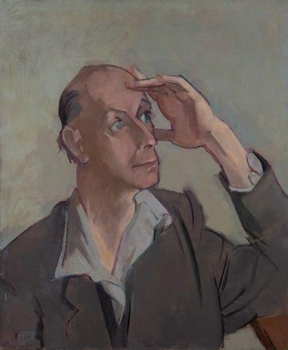 F. GILOT, portrait d'homme,toile, au dos...