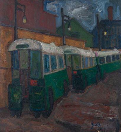 ZUKA, Les omnibus,Toile signée. 61 x 56 cm...