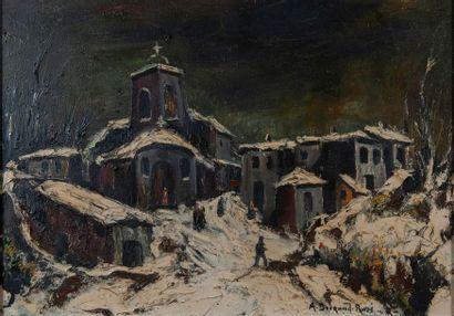 A. DURAND ROSE, Village sous la neige,Toile...