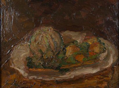BOUCHE, Les melons,toile signée. 44 x 59...