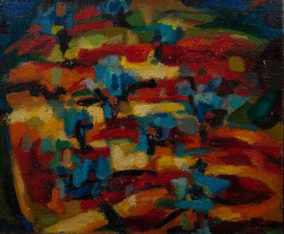CAMURATI, composition,toile signée. 54 x...