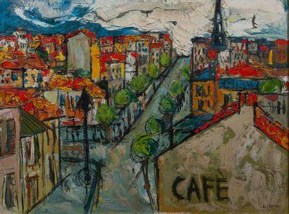 J.ALBERTINI, Café,toile signée. 1956. 59...