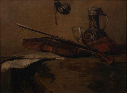école moderne, le violon,toile. 42 x 56 cm...