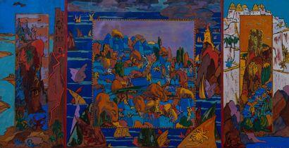 Richard BURGITHAL, la tentation de saint Antoine,gouache. 33 x 54 cm
