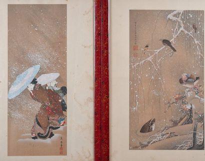 FUJIMARO, neige,estampe de KATIGAWA 40 x 16 cm, On y joint : JAKUCHU, canard ,estampe....