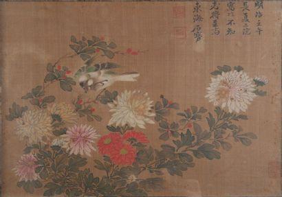 Chine, chrysanthème,encre. 28 x 40 cm