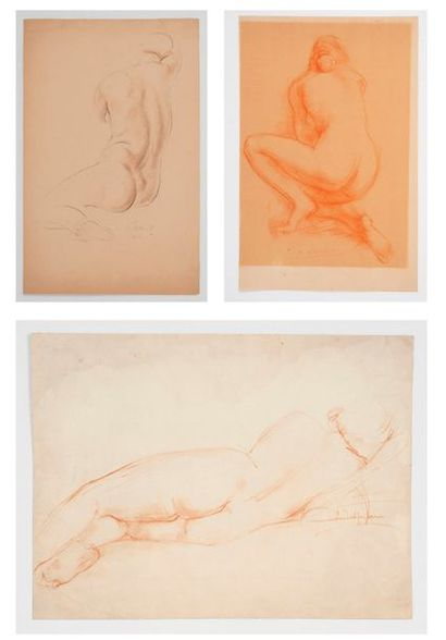 Ecole moderne. Trois nus féminins. Sanguines...