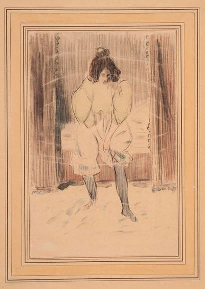 Ecole française vers 1880. Jeune femme ajustant...