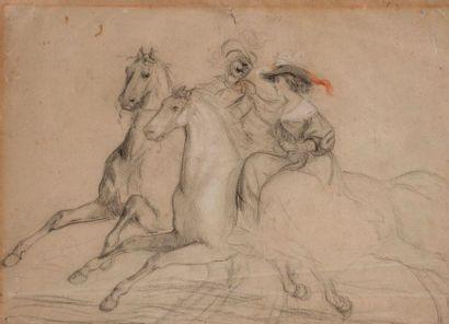 Ecole XIXe  Couple à cheval  Dessin monogrammé...