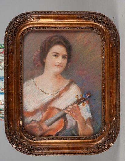 Ecole MODERNE  Portrait de Ginette Neveu....