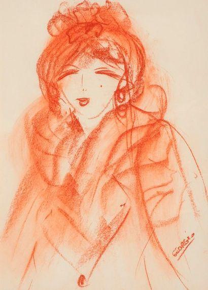 GEORGIO  Portrait de femme au manteau de...