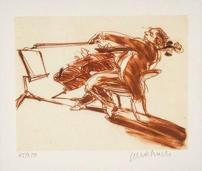 Claude WEISBUCH  Le violoncelliste  Lithographie,...