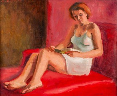 Maurice ASSELIN  Femme à la lecture  Toile,...