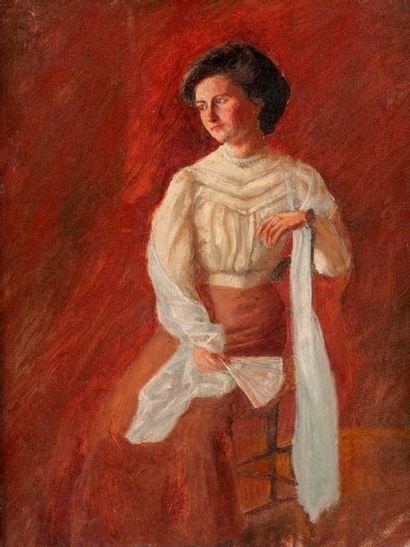 Ecole MODERNE vers 1900  Portrait de femme...