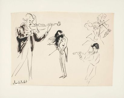 Claude LABAT dit BALTA  Les violonistes  Encre...