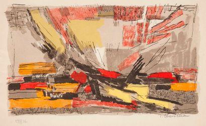 Jean CHEVOLLEAU  Composition abstraite  Gravure...