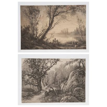 Auguste ALLONGE (1833-1898) Paysages. Fusains...