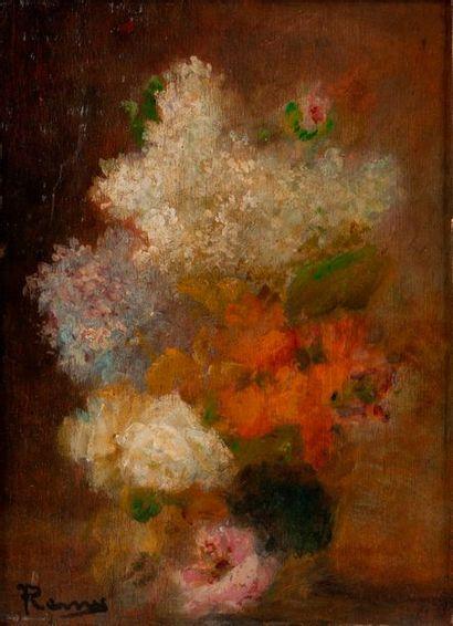 REMIS (Xxe)  Bouquet de fleurs  Huile sur...