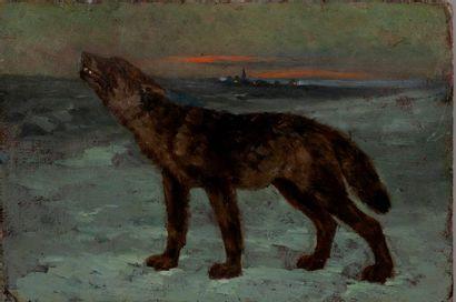 Ecole XIXe  Loup au crépuscule  Huile sur...