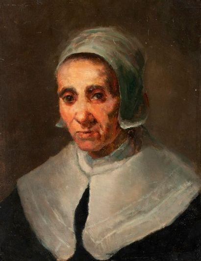 Ecole du Nord XIXe  Portrait de femme  Huile...