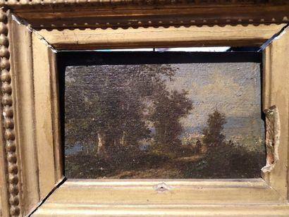 Ecole de BARBIZON  Silhouette dans un paysage....
