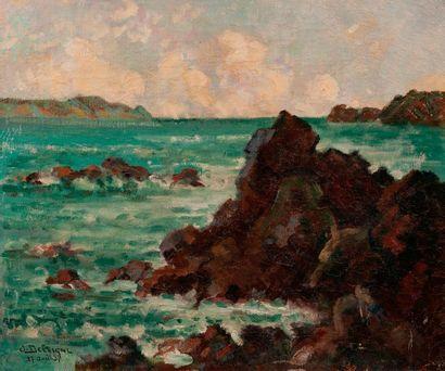 Delvigne.  Etude de rochers  Huile sur toile...
