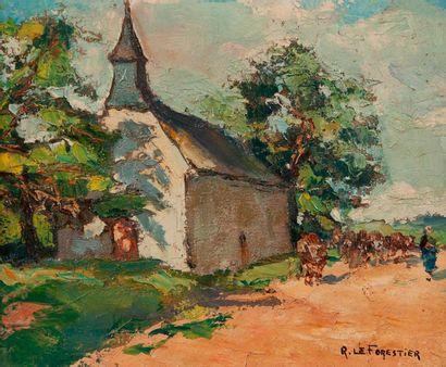 Ecole bretonne  Chapelle  Toile signée Le...