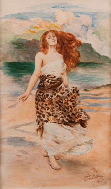 Attribué à Clairin,  La sauvageonne  Aquarelle...