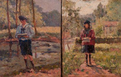 Ecole moderne  Les scouts  Paire de panneau...