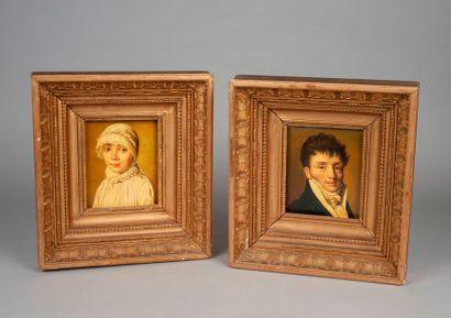 D'après BOILLY  Paire de portraits  Toile....