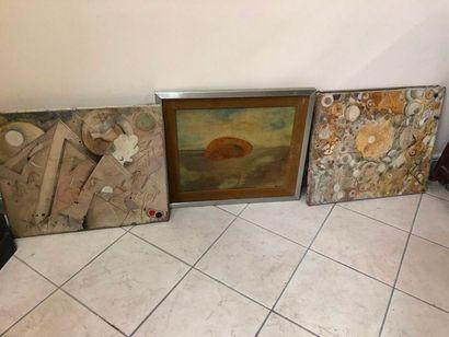 Ensemble de trois toile moderne  (en l'état...