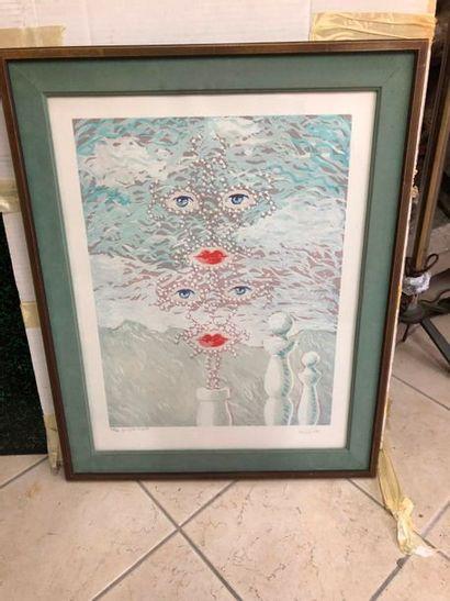 D'après René Magritte (1898-1967)  Visage,...