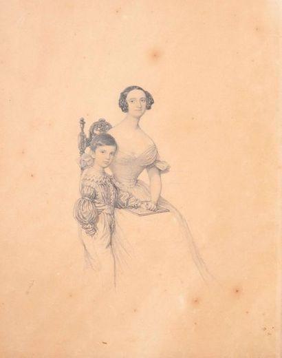 Ecole FRANCAISE du XIXe siècle  Mère et son...