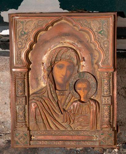 Ecole Russe  Vierge et l'enfant  Icône sur...
