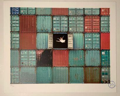 JR (Français, né en 1983) The ballerina jumping in containers, Le Havre, France,...