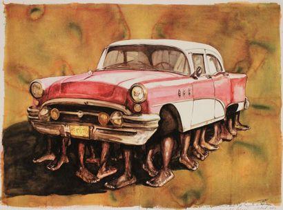 Armando MARINO (Français, né 1968) La patera (the raft), 2002  Lithographie sur papier,...