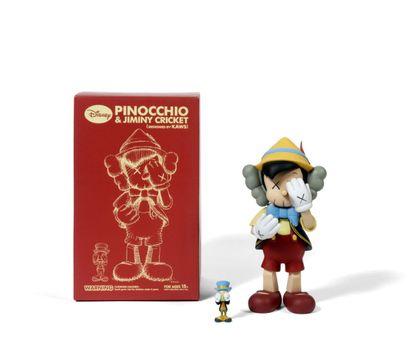 KAWS (Américain, né en 1974) KAWS (Américain, né en 1974)  Pinocchio & Jiminy Cricket,...