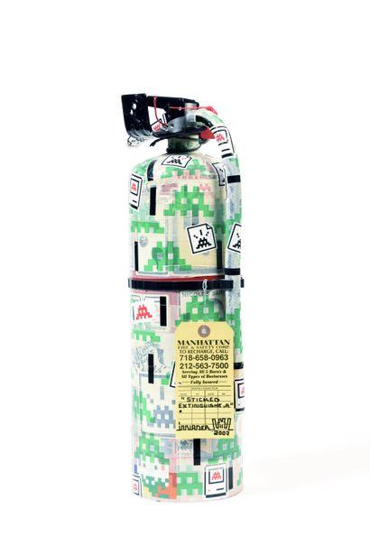 INVADER (Français, né en 1969) Sticked Extinguisher, 2007  Extincteur recouvert de...