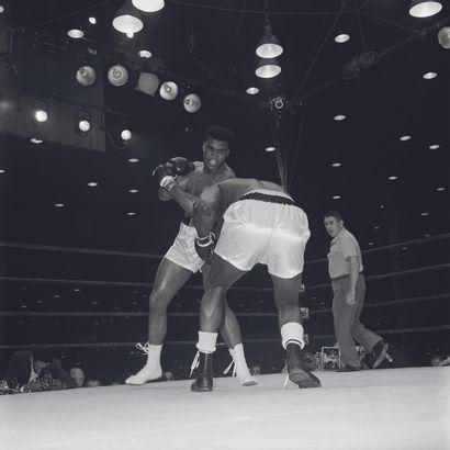 AFP AFP  L'Américain Cassius Clay (Muhammad Ali) affronte son compatriote Sonny Liston...