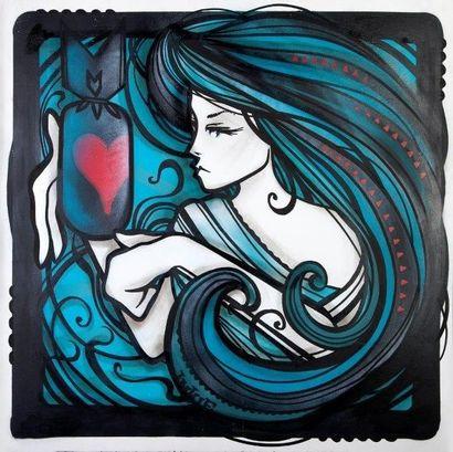 INKIE (Britannique, né en 1970)  Love Bomb, 2015  Peinture aérosol et marqueurs sur...