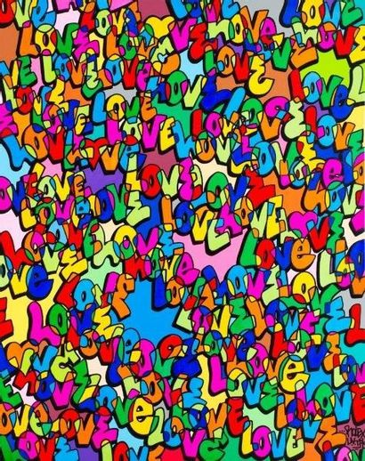 ROLECS – UVTPK  Love, 2015  Marqueur et marqueur à l'huile sur toile,  datée et signée...