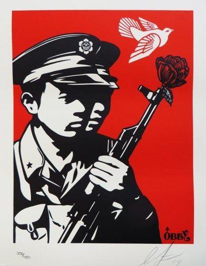 PRINT OBEY Chinese Soldier Letter Press, 2014 Sérigraphie en couleurs signé et daté...
