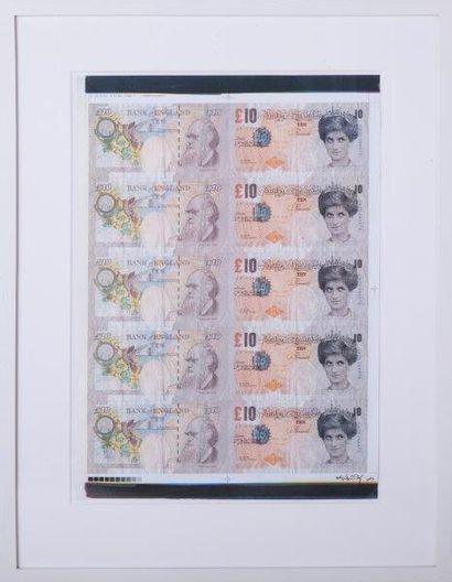 BANKSY (Britannique, né en 1975) Di-Faced Tenner, 2004 Impression lithographique...