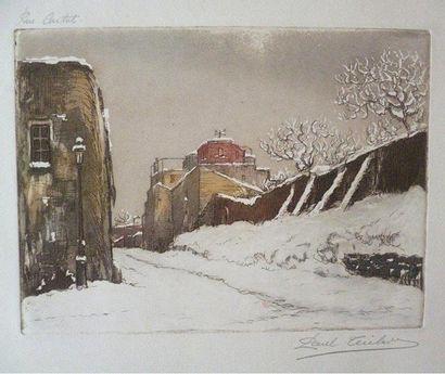 GEN-PAUL (1895-1975) Rue Cortot Gravure en couleurs sur papier titré en haut à gauche...