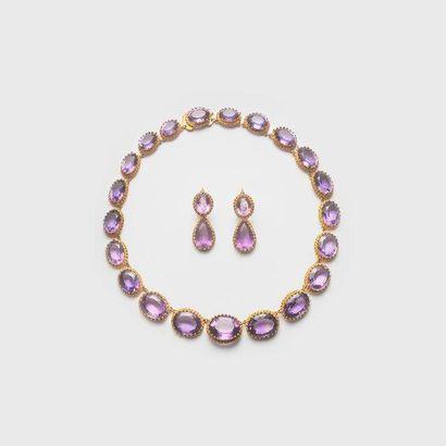 Parure comprenant un collier et une paire de pendants d'oreilles en or jaune 750...