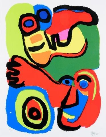 APPEL Karel (1921-2006)  Composition au personnage, 1975  Estampe en couleurs sur...