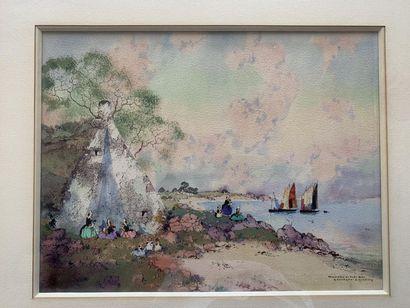 """Ernest-Pierre GUERIN (1887-1952) """"Ramendage du filet bleu. Bretagne"""" Aquarelle signée..."""