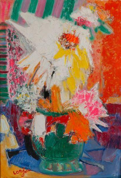 Bernard LORJOU (1908-1986). Bouquet. Huile sur toile signée en bas à gauche. 116...